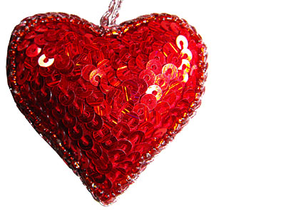 Christmas Heart Decoration.Sequin Heart And Star Christmas Tree Decorations Hand Made