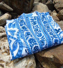 Dressing Gown Printed Cotton Kimonos Hand Made In India For