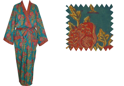 Dressing gown, printed Cotton Kimonos, hand made in India for ...